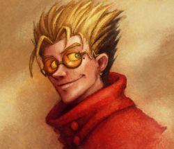 1boy blonde_hair blue_eyes coat earrings glasses jewelry long_coat looking_to_the_side male_focus mole nose portrait red_coat semi-rimless_glasses short_hair smile solo spiked_hair sunglasses trigun tuinen under-rim_glasses vash_the_stampede