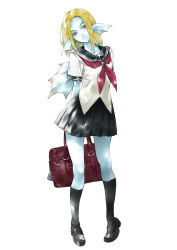 1girl arms_behind_back bag black_legwear blonde_hair blue_skirt dragon_quest dragon_quest_x full_body head_tilt highres himiko_(326ontheweb) kneehighs loafers looking_at_viewer monster_girl pleated_skirt purple_eyes school_bag school_uniform serafuku shoes skirt solo