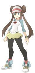 1girl blue_eyes brown_hair double_bun mei_(pokemon) pantyhose poke_ball pokemon pokemon_(game) pokemon_bw2 raglan_sleeves skirt souji visor_cap