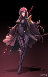 1girl absurdres artist_name bangs bodysuit breasts covered_navel fate/grand_order fate_(series) full_body gae_bolg gradient gradient_background hair_between_eyes highres holding holding_spear holding_weapon impossible_bodysuit impossible_clothes lance long_hair looking_at_viewer medium_breasts pauldrons polearm purple_bodysuit purple_eyes purple_hair scathach_(fate/grand_order) shadow shoulder_pads showgirl_skirt skin_tight smile solo spear steve_zheng thigh_gap turtleneck very_long_hair weapon