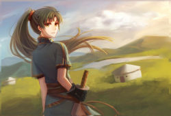 1girl black_gloves earrings fire_emblem fire_emblem:_rekka_no_ken gloves green_eyes green_hair highres holding_sword holding_weapon jewelry liangxieyue looking_at_viewer looking_back lyndis_(fire_emblem) outdoors ponytail solo sword weapon