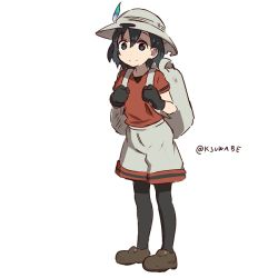 1girl backpack bag black_hair bucket_hat commentary_request gloves grey_eyes hair_between_eyes hat hat_feather kaban kei-suwabe kemono_friends looking_at_viewer pantyhose_under_shorts red_shirt shirt shoes short_hair short_sleeves shorts smile solo t-shirt twitter_username white_background