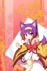 :< animal_ears bare_legs fox_ears fox_tail hairband hatsuse_izuna japanese_clothes kimono leaf_print no_game_no_life purple_eyes purple_hair running sandals senba_chidori short_hair short_kimono tabi tail wide_sleeves