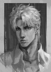 1boy birthmark character_name dio_brando greyscale jojo_no_kimyou_na_bouken looking_at_viewer male_focus monochrome outside_border portrait sb_(hiratsei) solo white_border