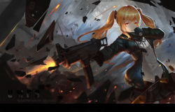 1girl absurdres ammunition_pouch arm_belt arm_strap bangs belt black_ribbon blonde_hair brown_legwear buttons character_name clenched_teeth copyright_name cowboy_shot dress_shirt explosion explosive finger_on_trigger firing girls_frontline gloves green_gloves green_jacket green_skirt grenade gun h&k_ump h&k_ump9 hair_ornament hairclip hand_to_own_mouth hands_up heckler_&_koch highres holding holding_gun holding_weapon hood hooded_jacket hoodie jacket long_hair long_sleeves neck_ribbon open_clothes open_hoodie open_jacket pantyhose personification pleated_skirt ribbon scarf shards shell_casing shirt skirt smoke solo standing strap submachine_gun suppressor teeth twintails ump9_(girls_frontline) weapon white_shirt xiaoxiao yellow_eyes