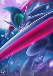 arm_blade chobi-pho gallade glowing_eyes looking_at_viewer mega_gallade mega_pokemon moon motion_blur night_sky petals pokemon pokemon_(game) red_eyes