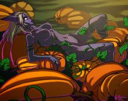 1girl blonde_hair breasts draenei halloween large_breasts long_hair neryumo nipple_piercing nipples nude piercing pumpkin purple_skin solo uncensored warcraft world_of_warcraft