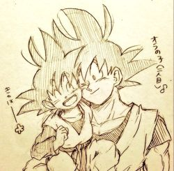 2boys ;) carrying child clenched_hand dougi dragon_ball dragonball_z eyebrows_visible_through_hair eyes_closed father_and_son flower happy head_to_head looking_at_another male_focus monochrome multiple_boys musical_note one_eye_closed open_mouth quaver simple_background smile son_gokuu son_goten spiked_hair tkgsize traditional_media translation_request