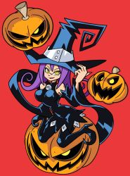 1girl blair breasts hat highres jack-o'-lantern long_hair pumpkin purple_hair shenanimation solo soul_eater witch_hat yellow_eyes