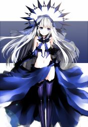 1girl blue_eyes date_a_live highres long_hair looking_at_viewer nipples silver_hair smile solo tobiichi_origami