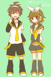 2boys danganronpa danganronpa_1 fujisaki_chihiro kagamine_len kagamine_len_(cosplay) kagamine_rin kagamine_rin_(cosplay) multiple_boys naegi_makoto trap vocaloid