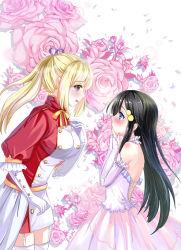 2girls black_hair blonde_hair blue_eyes blush dress flower izumi_reina kami2011 kawakami_mai long_hair multiple_girls musaigen_no_phantom_world rose yuri