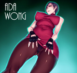 ada_wong breasts erect_nipples large_breasts naughty_face nipples pantyhose resident_evil sawao