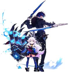 1boy 1girl absurdres black_shoes blue_eyes blue_hair blue_legwear blue_skirt bow brooch ciel_(elsword) claws coat crown dual_wielding elsword energy full_body gloves gun gunblade height_difference highres huge_weapon hwansang jewelry long_hair luciela_r._sourcream mini_crown pants pointy_ears reverse_grip shoes skirt standing sword symbol-shaped_pupils tail thighhighs transparent_background weapon white_background white_bow white_hair