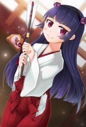 1girl arrow black_hair gokou_ruri hairband highres japanese_clothes kiritsuki_yuu_koromo long_hair miko ore_no_imouto_ga_konna_ni_kawaii_wake_ga_nai red_eyes