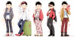 1boy ;) alternate_costume black_hair boots briefcase formal geta hand_in_pocket hands_in_pocket hands_in_pockets haori japanese_clothes jewelry kimono male_focus matsuno_osomatsu mone_(14ri0000) multiple_views necklace one_eye_closed osomatsu-kun osomatsu-san shoes smile sneakers suit sunglasses sunglasses_on_head towel towel_around_neck yakuza yukata