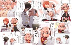 1girl 2boys black_hair black_legwear blush braid cape eyes_closed fang fate/apocrypha fate/grand_order fate_(series) fujimaru_ritsuka_(female) fujimaru_ritsuka_(male) hair_ribbon hug long_hair looking_at_viewer male_focus multiple_boys open_mouth orange_hair pink_hair purple_eyes ribbon rider_of_black short_hair single_braid smile translation_request trap