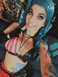 1girl belt blue_hair bra bullet cosplay jinx_(league_of_legends) league_of_legends long_hair looking_at_viewer makeup smile tattoo teeth underwear valentina_kryp