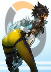 1girl ass bodysuit bomber_jacket brown_eyes brown_hair goggles goomrrat gun handgun jacket leaning_forward looking_at_viewer overwatch parted_lips pistol short_hair smile solo spiked_hair thighs tight tracer_(overwatch) weapon