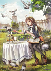 1girl alternate_costume altoris_(scee) artist_name bird black_legwear blue_eyes blush book breasts bridge brown_hair building chair clock clock_tower cloud cup double_bun grass hair_ornament hairband headgear highres jacket kantai_collection kongou_(kantai_collection) long_hair neckerchief necktie open_mouth outdoors pantyhose pastry pigeon plate revision school_uniform shoes sitting skirt sky table tablecloth teacup teapot tiered_tray tower tree