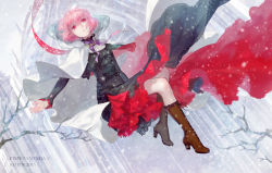 1girl 2015 artist_name bangs bare_tree boots brown_boots building cape cross cross-laced_footwear curly_hair expressionless floating full_body high_heel_boots high_heels lace-trimmed_dress long_sleeves looking_at_viewer neck_ribbon original outdoors outstretched_arms parted_lips pink_hair pixiv_fantasia pixiv_fantasia_t red_eyes ribbon robinexile short_hair snow snowing solo spread_arms tree wind