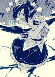 1girl black_wings camera hat hichiko monochrome pom_pom_(clothes) shameimaru_aya shirt short_hair short_sleeves skirt solo tokin_hat touhou tree wings