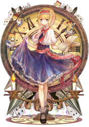 1girl alice_margatroid bai_qi-qsr blonde_hair blue_dress blue_eyes blush book broom bucket candelabra candle capelet card clock collared_shirt doll dress dress_lift frilled_dress frills hair_ribbon hairband hands_up highres holding holding_book holding_dress looking_at_viewer mop open_book playing_card red_ribbon red_string ribbon roman_numerals shirt shoes short_hair simple_background skirt skirt_lift solo standing string touhou white_background wiping
