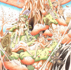 3girls anklet dress fungus green_hair jewelry long_hair moth multiple_girls mushroom nature noraico nude original sleeping tree white_dress