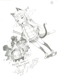 1girl animal_ears backpack bag breath bus cat_ears cat_tail down_jacket down_vest dutch_angle eyebrows eyebrows_visible_through_hair fire full_body graphite_(medium) ground_vehicle hair_ornament hairclip hands_in_pockets highres katana kneehighs korean long_hair looking_at_viewer monochrome motor_vehicle original scan shadow sheath sheathed shoes shufflebox skirt sneakers solo standing sword tail traditional_media translation_request vest weapon white_background