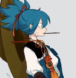 1boy artist_name blue_hair chin_strap hat kote l_hakase lowres male_focus mouth_hold pocky profile sayo_samonji simple_background solo touken_ranbu