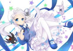 (o)_(o) 1girl anko_(gochuumon_wa_usagi_desuka?) blue_eyes frilled_skirt frills gloves gochuumon_wa_usagi_desu_ka? hair_ornament hairpin highres holding kafuu_chino leaf1031 long_hair looking_at_viewer magical_girl mary_janes pantyhose scar shoes silver_hair skirt smile tippy_(gochuumon_wa_usagi_desuka?) twintails wand white_gloves white_legwear wild_geese