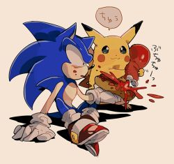 :3 aoki_(fumomo) crossover food gloves hot_dog ketchup no_humans pikachu pokemon shoes sneakers sonic sonic_the_hedgehog