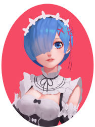 1girl absurdres blue_eyes blue_hair bow breasts cleavage detached_collar detached_sleeves dzs_(avpxiaolei) frilled_sleeves frills hair_ornament hair_over_one_eye hair_ribbon highres maid maid_headdress medium_breasts re:zero_kara_hajimeru_isekai_seikatsu red_ribbon rem_(re:zero) ribbon short_hair smile solo underbust upper_body x_hair_ornament