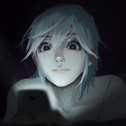 1girl blue_eyes blue_hair cellphone dark face hair_between_eyes highres light original phone portrait short_hair smartphone solo tony_sun using_phone