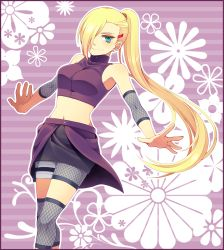1girl amaou blonde_hair blue_eyes breasts earrings female floral_background hair_over_one_eye hairclip jewelry long_hair looking_at_viewer medium_breasts midriff naruto naruto_shippuuden navel ponytail smile solo very_long_hair yamanaka_ino