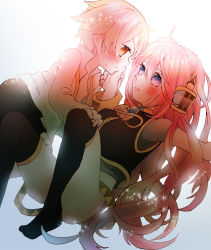 1boy 1girl age_difference bandage belt blonde_hair blue_eyes blush bottomless closed_mouth collared_shirt headphones height_difference hetero long_hair looking_at_another megurine_luka miza-sore nipples oliver_(vocaloid) open_clothes open_mouth open_shirt pink_hair shorts shota simple_background size_difference straight_shota sweatdrop thighhighs vocaloid yellow_eyes