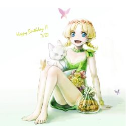 1girl blonde_hair blue_eyes blush bracelet braid butterfly croissant dress elf flower happy_birthday highres jewelry juno_bernal open_mouth pointy_ears pop-up_story smile stuffed_animal stuffed_cat stuffed_toy twin_braids umino_kiri