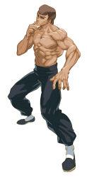 1boy abs baggy_pants bingoman brown_hair eyebrows fei_long fighting_stance flats highres muscle pants shirtless short_hair sketch socks solo street_fighter