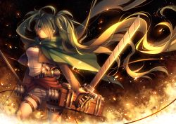 1girl cape fire green_eyes green_hair hair_over_one_eye hatsune_miku holster leg_belt long_hair long_sleeves looking_at_viewer open_clothes open_vest pants parody shingeki_no_kyojin shirt solo sword thigh_holster three-dimensional_maneuver_gear tidsean twintails very_long_hair vest vocaloid weapon