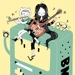 1boy 1girl adventure_time aji animal_hood backpack bangs bass_guitar bear_hood black_hair blonde_hair blush bmo commentary dog eyes_closed finn flip-flops flute instrument jake_the_dog marceline_abadeer musical_note one_eye_closed pants playing_instrument robot shorts simple_background t-shirt tajima_naoto tambourine torn_clothes vampire very_long_hair yellow_background