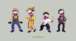 1boy bulging_eyes chinese_clothes copyright_name cosplay formal goggles goggles_on_head grey_background hands_on_hips hashtag heart heart_in_mouth hood hoodie kung_fu_hustle matsuno_juushimatsu minion_(despicable_me) minion_(despicable_me)_(cosplay) minions_(movie) mr_bean mr_bean_(character) mr_bean_(character)_(cosplay) necktie osomatsu-kun osomatsu-san overalls red_necktie simple_background sing_(kung_fu_hustle) sing_(kung_fu_hustle)_(cosplay) sleeves_past_wrists smile stanley_ipkiss stanley_ipkiss_(cosplay) suit tangzhuang the_mask tsuyuxxx