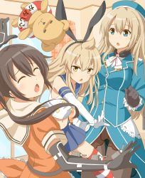 >:< 3girls atago_(kantai_collection) atago_(kantai_collection)_(cosplay) blonde_hair breasts brown_hair chestnut_mouth closed_mouth cosplay elbow_gloves gloves hairband hat kantai_collection large_breasts long_hair minami-ke minami_chiaki minami_haruka minami_kana multiple_girls open_mouth pantyhose parody sendai_(kantai_collection) sendai_(kantai_collection)_(cosplay) shimakaze_(kantai_collection) shimakaze_(kantai_collection)_(cosplay) siblings sisters striped striped_legwear taishi_(moriverine) thighhighs two_side_up
