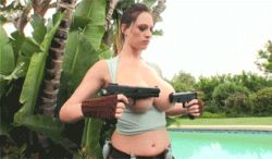 1girl animated animated_gif breasts cosplay covering_breasts gun lara_croft large_breasts photo shorts tomb_raider topless weapon