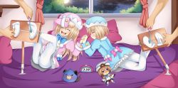 2boys 2girls absurdres ass bed blanc blush bound_ankles brown_hair choujigen_game_neptune choujigen_game_neptune_mk2 compile_heart dogoo dress eyes_closed feet foot_tickling hat idea_factory laughing long_hair lying multiple_boys multiple_girls neptune_(series) night no_shoes open_mouth pantyhose pillow planeptune ram_(choujigen_game_neptune) rom_(choujigen_game_neptune) shiny shiny_hair short_hair siblings sisters smile soles stuffed_animal stuffed_toy tickling toes twins white_legwear