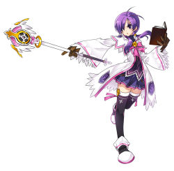 1girl aisha_(elsword) black_legwear blackjd83 book bow brooch brown_gloves coat elsword gloves jewelry official_art pink_bow pink_ribbon purple_eyes purple_hair purple_skirt ribbon shoes short_hair skirt solo standing_on_one_leg thighhighs twintails wand white_background