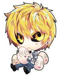 2boys bald black_sclera blonde_hair chibi cyborg genos male_focus multiple_boys one-punch_man saitama_(one-punch_man) sebychu short_hair theuselesstoe yellow_eyes