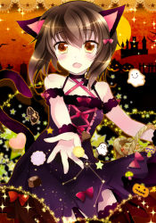 1girl :d alternate_costume animal_ears brown_eyes brown_hair cat_ears cat_tail detached_sleeves ghost halloween ichiyou_moka kantai_collection kemonomimi_mode looking_at_viewer open_mouth reaching smile solo taihou_(kantai_collection) tail wrist_cuffs