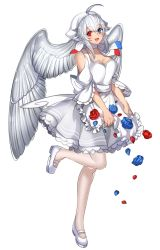 1girl :d ahoge blue_eyes blue_rose flower head_wings heterochromia katagiri_hachigou looking_at_viewer mary_janes open_mouth pantyhose personification pokemon red_eyes red_rose rose shoes simple_background smile solo togekiss white_background white_hair white_legwear white_wings wings