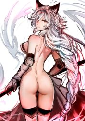 1girl animal_ears ass bare_back bare_shoulders braid brown_eyes butt_crack gauntlets granblue_fantasy heles kigawa_rin polearm silver_hair spear weapon