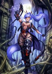 animal_ears blue_eyes breasts eyepatch pixiv_fantasia pixiv_fantasia_t shinazo tail thighhighs whip